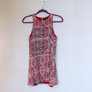 Lulus Red Sleeveless Paisley Trapeze Dress XS Boho